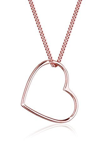 Elli Damen Schmuck Halskette Kette mit Anhänger Herz Liebe Freundschaft Liebesbeweis Silber 925 Rosé Vergoldet Länge 45 cm