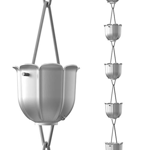 Rain Chains Direct Flöten Regenkette, 2,5 m Länge, Aluminium, Grau, funktionaler und dekorativer für Dachrinnen Fallrohre