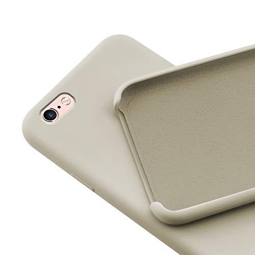 N NEWTOP Custodia Cover Compatibile per iPhone 6-6S Plus, Ori Case Guscio TPU Silicone Semi Rigido Colori Microfibra Interna Morbida (Beige)