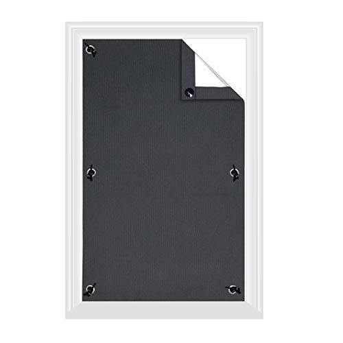 Greatime 100% Lichtundurchlässig Gardinen mit Saugnäpfen Verdunkelungsvorhang, Isolierung für Velux Dachfenster(Grau,38x75cm)