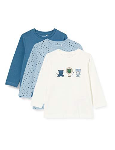 NAME IT Baby-Jungen NBMTEMEN 3P LS TOP Shirt, Dusty Blue, 86