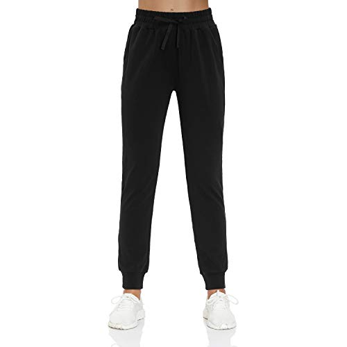 HMIYA Damen Jogginghose Baumwolle Sporthose Yogahose Trainingshose Freizeithose mit Taschen - Super Weich und Bequem (Schwarz XS)