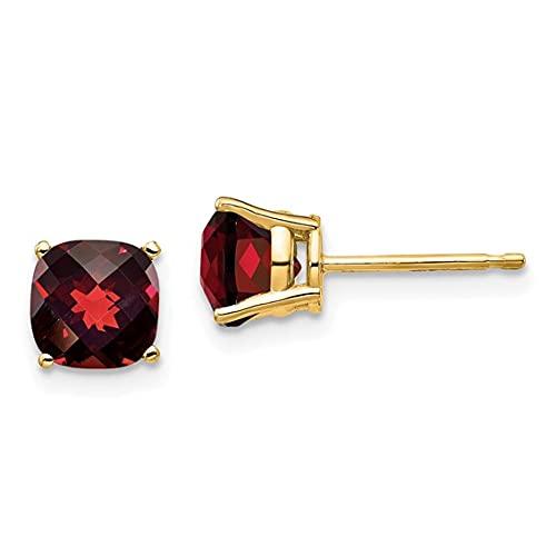 Jewelry-14k 6x6mm Cushion Garnet Checker Earring