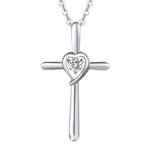 Sterling Silver Cubic Zirconia Love Heart Cross Crucifix Pendant Necklace for Women Girls with 18 Inch Sterling Silver Chain