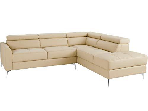 Loft24 A/S 5-Sitzer Sofa L-Form Couch Ecksofa Polsterecke mit Recamiere Leder Metallbeine (Creme Recamiere rechts, Leder)