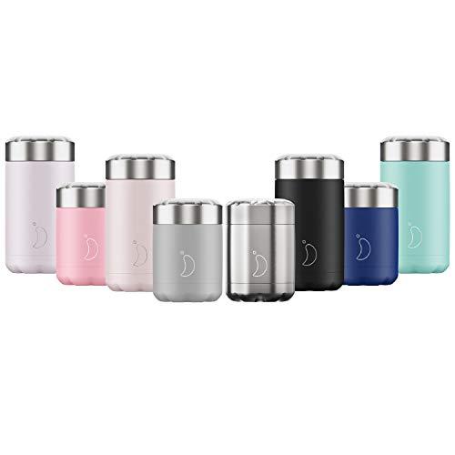 Chilly's Vorratsbehälter - doppelwandiger, auslaufsicherer, wiederverwendbarer Premium-Lebensmittelbehälter aus Edelstahl - Schwarz - 300ml