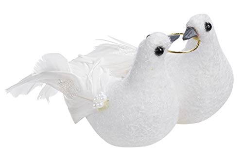 Hochzeitstaubenpaar mit Ring, 11 cm mit clip, 1 Paar per Box