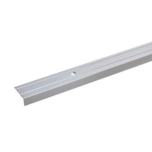 acerto 34017 Aluminium Treppenwinkel-Profil - 120cm, 10x24,5mm, silber * Rutschhemmend * Robust * Leichte Montage | Treppenkanten-Profil, Treppenstufen-Profil aus Alu | Gelochtes Stufenkanten-Profil