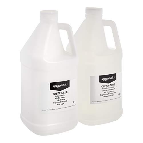 Amazon Basics 1/2 Gallon Clear Glue and 1/2 Gallon White Glue 2Pack Combo  Glue for Perfect Slime
