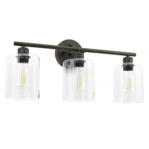 Industrial Bathroom Vanity Light,Aipsun Vintage Edison Lighting Fixture for Bathroom Industrial Wall Light Clear Glass Shades(Exclude Bulb)