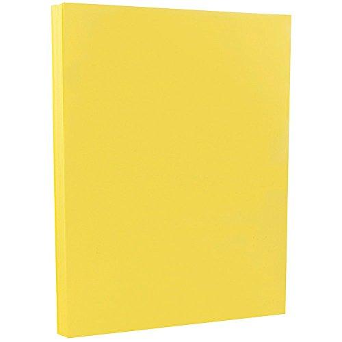 JAM PAPER Vellum Bristol 67lb Cardstock - 8.5 x 11 Coverstock - 147 GSM - Yellow - 50 Sheets/Pack
