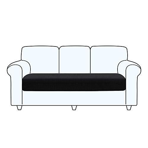 TAOCOCO Fundas de cojín para sofá, Protector de cojín de Asiento de Tela de poliéster de Alta Elasticidad (Negro, 3 Asientos)