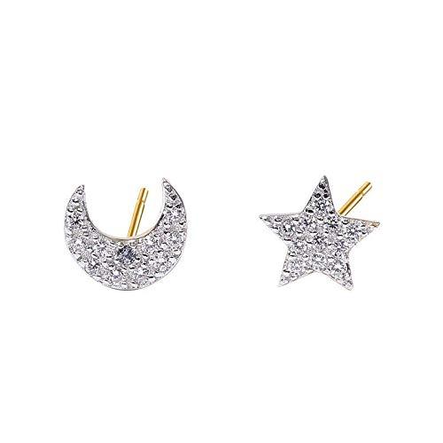Pendientes Astro con estrella y luna de plata de ley 925 bañada en oro y circonitas