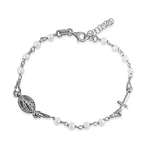 Sinfonie Pulsera para hombre y mujer, rosario de plata 925