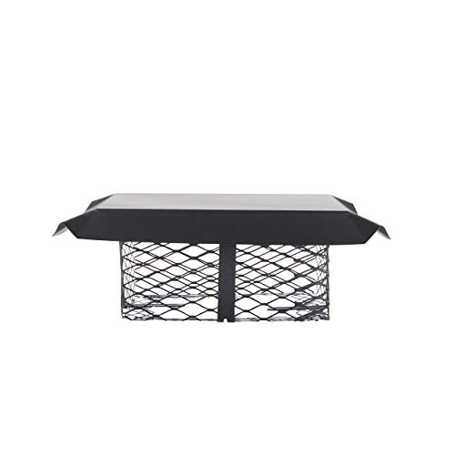 Shelter SCADJ-S Adjustable Clamp On Black Galvanized Steel Single Flue Chimney Cap,Small