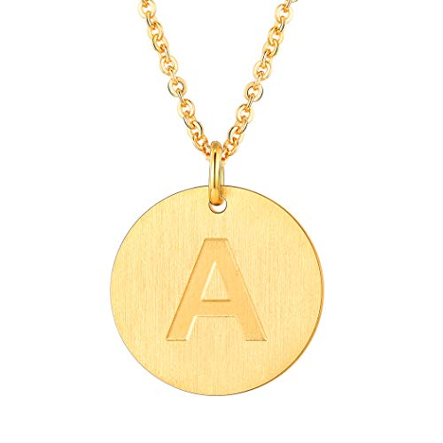 18K Gold Letter Necklace A Personalized Name Jewelry Stainless Steel Trendy Alphabet Initial Disc Coin Charm Necklace for Women Girls