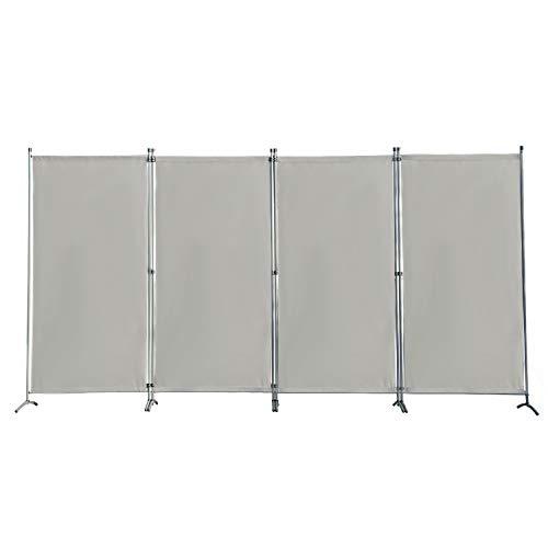 Angel Living Biombo Grande de 4 Paneles, Decoración Elegante, Separador de Ambientes Plegable, Divisor de Habitaciones, 333X170 cm (Gris)
