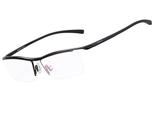 Agstum Pure Titanium Half Rimless Business Glasses Frame Optical Eyeglasses Clear Lens (Black)