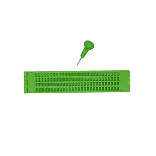4 Renglones 28 Caracteres Pizarras para Braille Con 2 Punzon (Verde) ✅