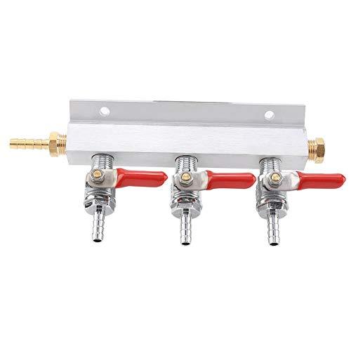 Collettore di gas per birra Prexey - Collettore di distribuzione di gas CO2 a 3 vie, distributore di barile di erogazione di birra