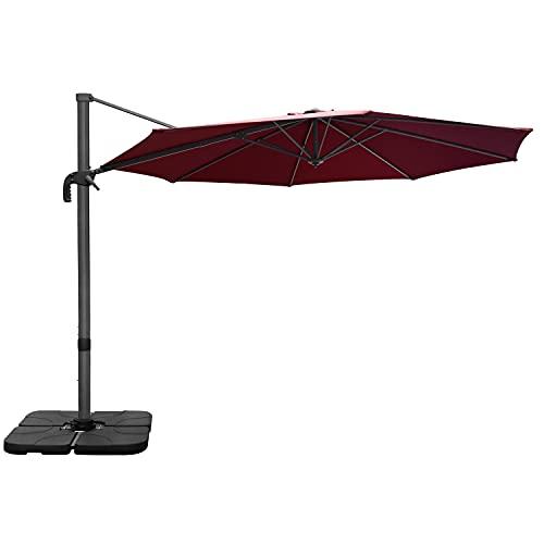 RANSENERS Ampelschirme Sonnenschirm, 300cm Ø, Gestell Aluminium/Stahl, Bespannung Polyester mit UV Schutz 80+, 360° Drehbar, 4 Stufen einstellbar