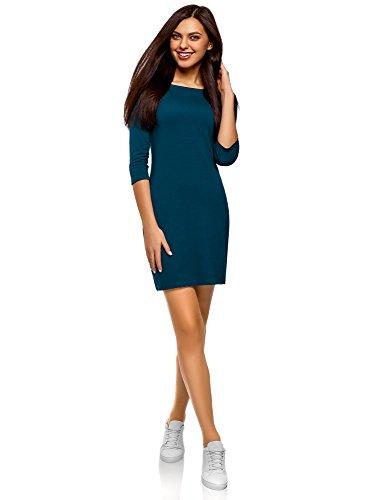 oodji Ultra Damen Baumwoll-Kleid Basic, Blau, DE 32 / EU 34 / XXS