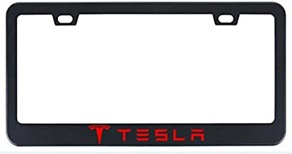 Deselen Stainless Steel License Plate Frame for Tesla with Screw Caps Cover Set, Black (2 Pieces Front/Back) LP-TES01