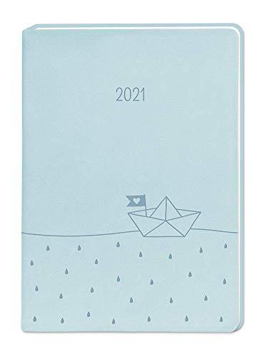 "Terminplaner Lederlook A6 ""Hellblau"" 2021"