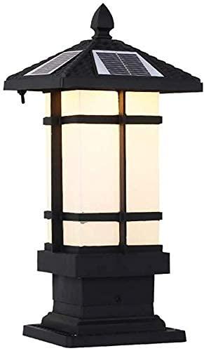Lámpara de Pilar de Paisaje de jardín a Prueba de Agua Retro Europea IP 55 Luz de Columna Solar LED Simple, luz de Valla, luz Trasera Iluminación de Columna Solar al Aire Libre Lámpara de Calle Deco
