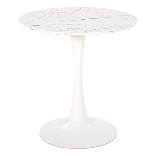 homcom Tavolo Moderno Tavolo da Pranzo Rotondo per Cucina, caffè, Bar, Tavolo Multiuso Effetto Marmo Φ70cm Bianco