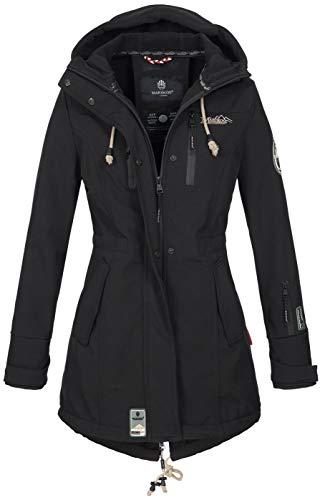 Marikoo Damen Winter Jacke Winterjacke Mantel Outdoor wasserabweisend Softshell B614 [B614-Zimt-Schwarz-Gr.XL]
