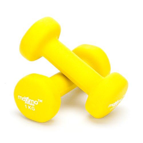 Maximo Fitness Mancuernas de Neopreno (Par) - Pesas de Mano Desarrollo de Fuerza, Tonificación Muscular, Gimnasia en Casa y Rehabilitación - Ideal para Hombres y Mujeres. (Yellow - 1kg x 2)