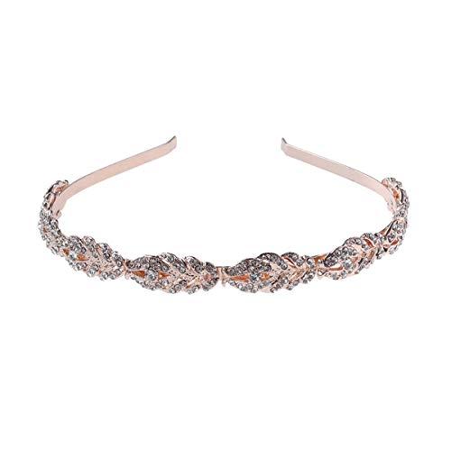 Frcolor Nupcial diamantes de imitación de cristal boda diadema tocados joyas (oro rosa)