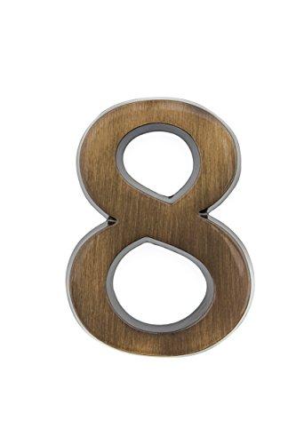 HUBER Hausnummer Nr. 8 Messing antike 10 cm, edles dreidimensionales Design