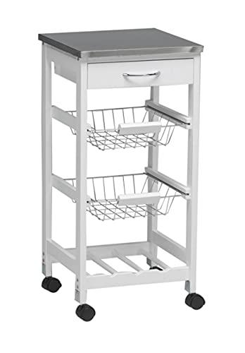 Kit Closet Práctico Carrito Auxiliar de Cocina. Carro, Metal, Blanco, Sencillo