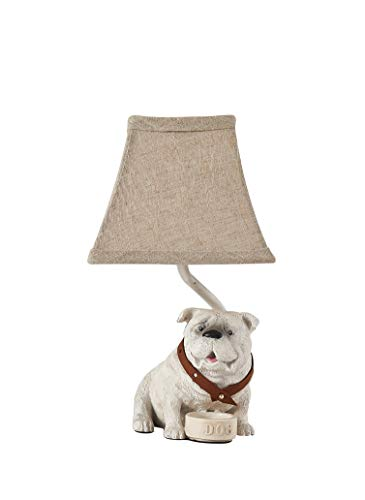 AHS Lighting L2700WH-UP1 Shaped Accent Lamp with Shade, Tank the Bull Dog