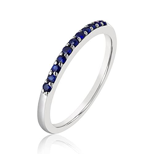 MILLE AMORI ∞ Anillo de compromiso de oro y zafiro azul natural ∞ Oro blanco 9 quilates 375 ♥ Zafiro azul natural 0,11 quilates