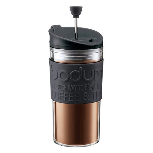 Bodum Press Travel mug con émbolo y Tapa Extra, Negro, Centimeters
