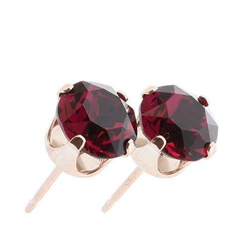 pewterhooter Women's 925 Sterling silver 14k Rose Gold plated earrings made with Ruby red crystal from Swarovski. Gift box.