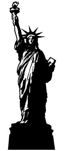 Samunshi® Wandtattoo Freiheitsstatue Wandaufkleber in 10 Größen und 25 Farben (62x190cm schwarz)