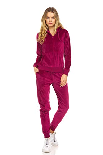 Cheetah Ladies 2 Piece Velour Jogger Set, Hoodie and Sweatpants Ladies Tracksuit, Plum,Extra Small