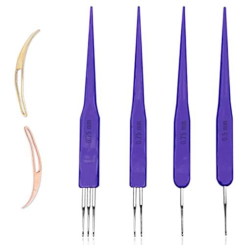 LAMXD Dreadlock - Herramienta de ganchillo para tejer con agujas para tejer (0,5 mm + 0,75 mm + 0,75 mm + 0,75 mm + 0,75 mm)