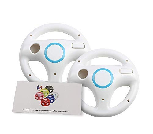 2 Pack Mario Kart 8 Wheel for Nintendo Wii , Steering Wheel for Wii (U) Remote Plus Controller - Original White (6 Colors Available)