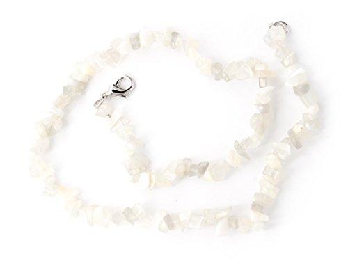 Taddart Minerals - Hellgraue Splitter Halskette aus dem natürlichen Edelstein Mondstein mit 45 cm Länge - handgefertigt
