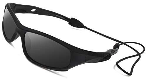VATTER TR90 Unzerbrechlicher Polarisierte Sportbrille Sonnenbrillen für Kinder Jungen Mädchen Jugend DE 816blackblack