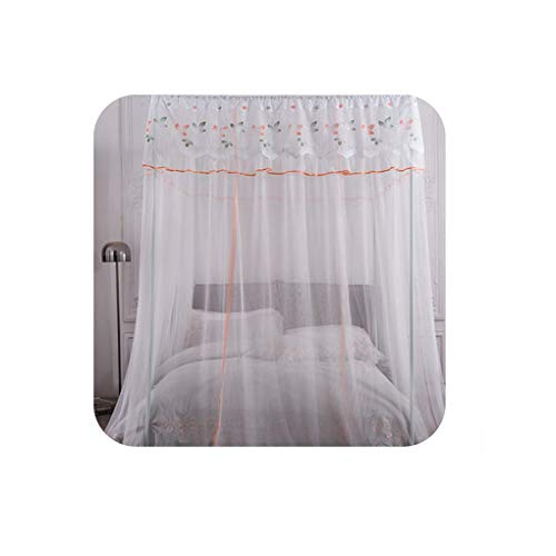 Great Price! Orange Mosquito Net Princess Lace Four Corner Post Girls Canopy Bed Mosquito Net Contai...