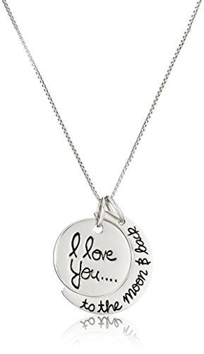 "Sterling Silver ""I Love You To The Moon and Back"" Necklace, 18"""