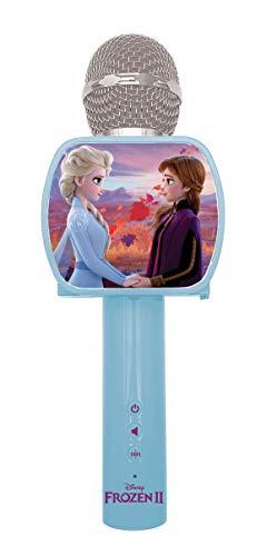 LEXIBOOK- Frozen 2 Elsa Anna Olaf Micrófono Bluetooth con función de Modificador de Voz, Soporte para teléfono retráctil, Altavoz Integrado, Azul