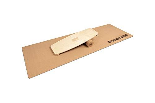 BoarderKING - Indoorboard Raw Wood Modelle - inkl. Rolle und Matte Skateboard Surfboard Trickboard Balanceboard Balance Board (Wake Raw (100x33 Korkrolle))