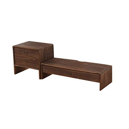 JJZXD Estantería de escritorio simple tabla de madera sólida telescópica Pequeño Estantería con cajón retráctil estantería